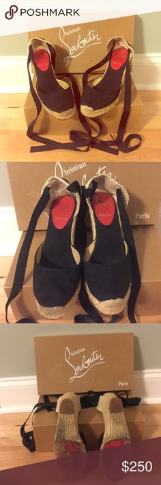 """Christian Louboutin Espadrille Ankle Wrap Size 35 Christian Louboutin Black Canvas Espadrille Ankle Wrap """"Brigitte"""" Sandals size 35. They are in very good pre-owned condition, the outer soles show wear but inner soles show minimal wear. I purchased these sandals at Neiman Marcus in Atlanta, GA. They will be shipped in their original box. A very comfortable pair of sandals for every day! Christian Louboutin Shoes Sandals"""