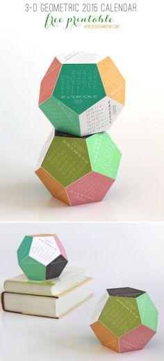 3-D 2015 Geometric Calendar | A Piece Of Rainbow