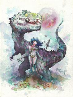 Steve Mannion - Dino Girl Comic Art