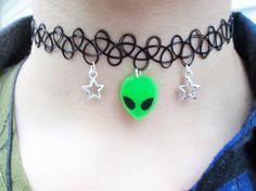 Grunge // Pastel Grunge // 90s // Kawaii // Green Alien // Psychedelic // Pastel Goth // Creepy Cute // Rad // Tattoo Choker // Punk // Choker Necklace