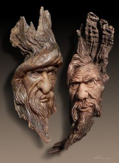 Drift Wood Carvings by Dennis Franzen - Wood Projects Wood Carving Faces, Dremel Wood Carving, Wood Carving Designs, Wood Carving Patterns, Wood Carving Art, Wood Carvings, Whittling Wood, Driftwood Sculpture, Bronze Sculpture