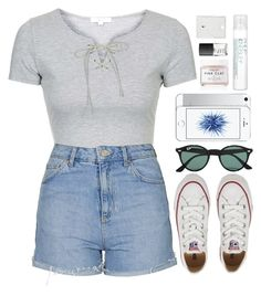 """""""Untitled #187"""" by kreay-1 ❤ liked on Polyvore featuring Topshop, Converse, Ray-Ban, Philip Kingsley, Herbivore Botanicals and NARS Cosmetics"""