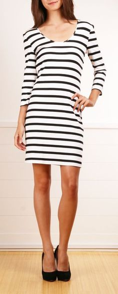 ordinarily not a fan of stripes, but this is cute and i like the body skim shape