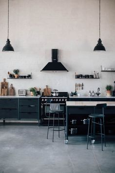 my scandinavian home: Make-over: The Magnificent Berlin Studio of Our Food Stories (black and white industrial kitchen)
