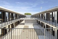 Built by H Arquitectes,dataAE in Sant Cugat del Vallès, Spain with date Images by Adrià Goula. The new dwelling house for university students is located in the same block as the Vallès Architecture School. The pr. Student Apartment, Apartment Guide, Student Room, Student House, Student Dormitory, Spanish Architecture, Education Architecture, Commercial Architecture, Architecture Student