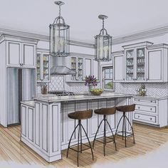I this kitchen designed by Angela Crittenden of teal_interiors! Interior Design Renderings, Drawing Interior, Interior Rendering, Interior Sketch, Interior Design Tips, Interior Architecture, Studio Interior, Interior Inspiration, Kitchen Drawing