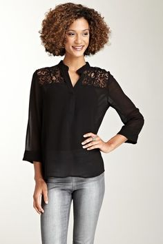 Chiffon Lace Sheer Blouse on HauteLook
