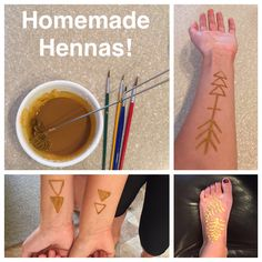 Homemade Hennas! Quick and easy! :) Recipe: 1/4 cup corn starch 1/4 cup water 2 packets orange Kool-Aid 4-6 drops of green food coloring ... Whisk corn starch and water together, then add Kool-Aid and food coloring. If needed, add more corn starch to thicken. Paint on the design and let harden, once dry the paste will crack off leaving the color behind. Enjoy!