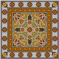 Double Border Persian Rug inspired square cross by Whoopicat