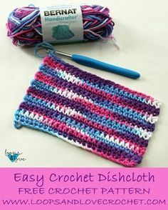 Crochet For Beginners Easy crochet dishcloth! - If you are looking for a quick and easy dishcloth crochet pattern, look no further! This is a great begi Easy Crochet Projects, Crochet Patterns For Beginners, Easy Crochet Patterns, Crochet Stitches, Dishcloth Crochet, Crochet Dishcloths Free Patterns, Wash Cloth Crochet Pattern, Crochet Ideas, Crochet Towel