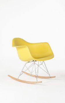 Amazon.com - Mid Century Eames Style RAR Molded Plastic Rocking Chair (Olive (Yellow)) - $155
