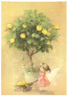 Artist Ekaterina Babok 'Lemon Fairy' Russian modern Rare new postcard Fantasy Kunst, Fantasy Art, Art Mignon, Kawaii Illustration, Flower Fairies, Fairy Art, Magical Creatures, Cute Drawings, Cute Art