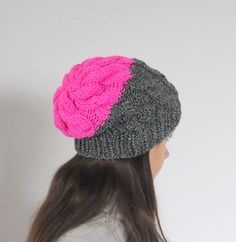 Hey, I found this really awesome Etsy listing at https://www.etsy.com/listing/170753336/neon-pink-cable-knit-beanie-hat-chunky