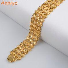 Anniyo 21cm / Width Bracelet for Women/Men Gold Color & Copper Ethiopian Jewelry African Bangle Arab Wedding Gifts #072506