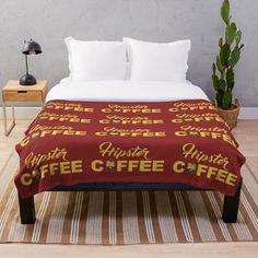'Coffee for hipsters' Throw Blanket by StefaniaAlina Coffee Time, Comforters, House Design, Blanket, Printed, Bed, Awesome, Shop, Furniture