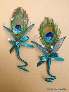 SET OF TWO Peacock Feather Decoration  Buttonholes/Boutonniere/lapel Corsage choose from trim in Teal, Turquoise, Black and Royal Blue on Etsy, £22.00