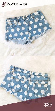 "faf04011abf44d Forever 21 Denim Shorts Forever 21 polka dot denim shorts. Size 30. 2""  inseam. Forever 21 Shorts"