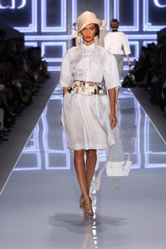 Dior Ready-to-Wear Spring Summer 2012 – Look 6: Embroidered pale blue gazar shirt and pale blue gazar skirt. Discover more on www.dior.com