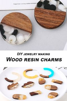 Wood and resin pendant, Wood resin earring components, Wood resin charms Jewelry Tree, Boho Jewelry, Jewelry Gifts, Vintage Jewelry, Handmade Jewelry, Resin Charms, Wood Resin, Resin Pendant, How To Make Earrings