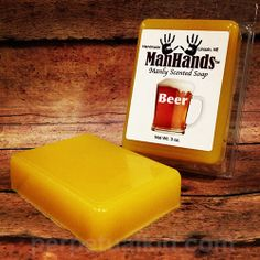 MANHANDS BEER SCENTED SOAP  So you've got our beer scented candles to make your house smell hoppy but youre missing something... what else could you add to complete the circle? Our Beer Soap in every bathroom of course!   Now, even when you're at the office or at your kid's soccer game, you can have the essence of booze without the intoxication! Great for man caves and bachelor pads!