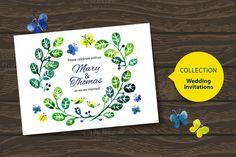 Check out Watercolor Wedding Invitation Vector by Elena Pimonova on Creative Market