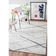 nuLOOM Contermporary Striped Grey Rug (10' x 14') (Grey), Size 10' x 14' (Plastic, Geometric)