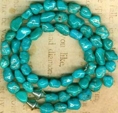 """Mexican Campitos Turquoise Beads Genuine Natural 16"""" Strand 5x6x8mm 