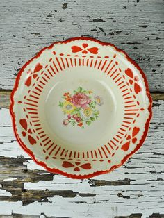 1940 Homer Laughlin Virginia Rose Red and Cream by RusticRealm, $18.00