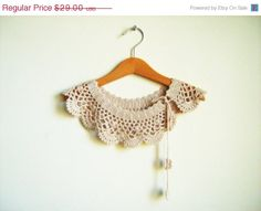 Bridesmaid gift. Collar Necklace crochet Peter Pan by NMNHANDMADE, $23.20