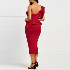 a5f06c031936 Clocolor Women One Shoulder Open Back Bodycon Pleated Tight Ruffles Tunic  Peplum Club Evening Elegant Red