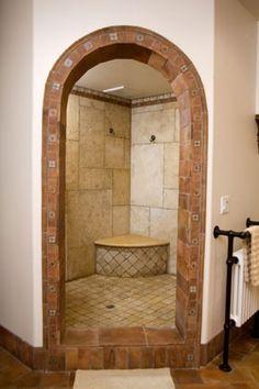 Trendy Bath Room Design Marble Walk In Shower Modern Bathroom Design, Bathroom Interior Design, Bath Design, Bathroom Designs, Mediterranean Bathroom, Spanish Style Homes, Spanish Colonial, Walk In Shower, Bath Shower