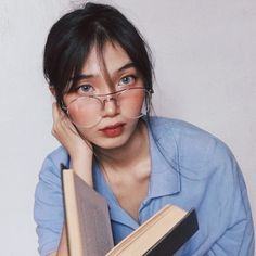 """and this piece is called """"What Up, I'm Dana, I'm And I Never Learned How To Read"""" (aka i took too many photos that day so pls bear wt me) / vera specs in silver from ! Creative Portrait Photography, Creative Portraits, Girl Photography, Ulzzang Korean Girl, Cute Korean Girl, Asian Girl, Book Aesthetic, Aesthetic Girl, Ulzzang Glasses"""