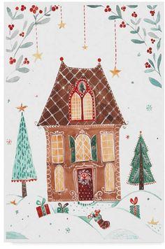 Trademark Global Irina Trzaskos Studio 'Gingerbread House Iv' Canvas Art - 19 x 12 x 2 Easy Gingerbread House, Gingerbread House Designs, Illustration Noel, Christmas Illustration, Christmas Art, Beautiful Christmas, Xmas, Italian Christmas, Holiday Fun