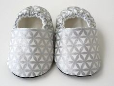 Baby Shoes - Metallic Silver Cotton Fleece, Cotton Fabric, Handmade Baby, Organic Cotton, Baby Shoes, Slippers, Comfy, Pairs, How To Wear