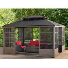 Shop for Sunjoy Conner Screen House Gazebo. Get free delivery On EVERYTHING* Overstock - Your Online Garden & Patio Shop! Screened Gazebo, Hot Tub Gazebo, Backyard Gazebo, Backyard Retreat, Patio Roof, Pergola Patio, Backyard Landscaping, Pergola Kits, Pergola Ideas