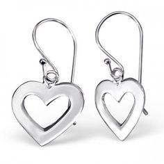 Silber Echt 925 Ohrstecker mit hängenden Herz
