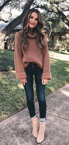 7b2a941ba85  winter  outfits women s brown sweater with black denim jeans. Click To Shop  This