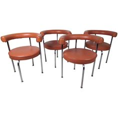 Mid-Century Modern Cassina Style Barrel Back Side Chairs  | From a unique collection of antique and modern dining room chairs at https://www.1stdibs.com/furniture/seating/dining-room-chairs/