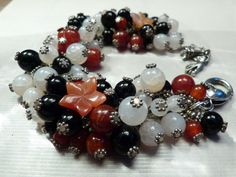 Statement Armband, onyx & rood/wit agaat edelsteen
