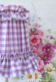 A Lilac Gingham Shade with Painted Hollyhocks www.vintage-home.co.uk
