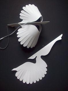 Paper BirdsSix White Flying Paper Birds by LorenzKraft on Etsy