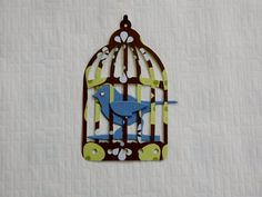 Caged Birds  16 pieces 8 Blue Birds and 8 Blue Flower Cages 0280 by CraftClearingHouse on Etsy