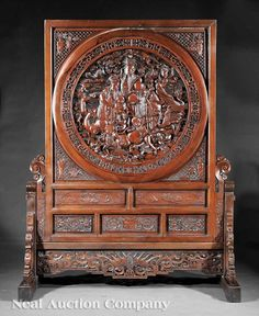 chinese carved wooden gods | 0741: Monumental Chinese Carved Wood Screen
