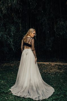 sweet caroline styles // ombre wedding dress // grey wedding dress // black wedding dress // crop top wedding dress // unique wedding dress // boho wedding dress // modern wedding dress Delicate Wedding Dress, Ombre Wedding Dress, Wedding Dresses, Boho Dress, Grey, Marriage, Gowns, Unique, Black