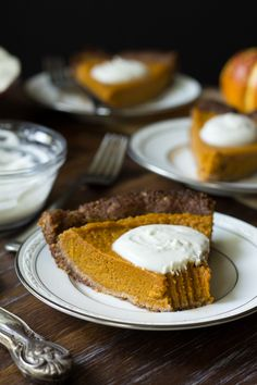 Paleo Pumpkin Pie with Pecan Coconut Crust - Grain free, dairy free, gluten free, naturally sweetened with dates and raw honey