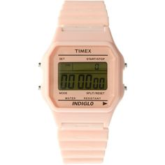 Timex 80 Pink Taffy Watch (3.045 RUB) ❤ liked on Polyvore featuring jewelry, watches, accessories, fillers, bracelets, menswear, watches mbunisex, retro watches, pink digital watch and retro bracelet