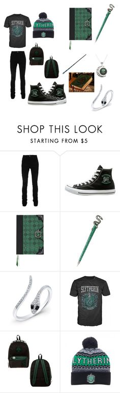 """Slytherin outfit"" by arianna-mitchell-1 on Polyvore featuring AMIRI, Anne Sisteron, Bioworld, men's fashion and menswear"