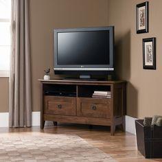 "$100 Sauder August Hill 39"" Corner TV Stand in Oiled Oak"