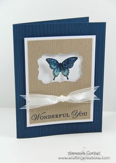 FRIDAY, JULY 19, 2013    Butterfly Muse Non Winning Artisan Entry 4 | Stamps: Woodgrain, Papillion Potpourri, Loving Thoughts  Card Stock: Midnight Muse, Whisper White, Crumb Cake  Ink: Midnight Muse, Pool Party, Crumb Cake, Black Stazon  Accessories: Woodgrain embossing folder, Elegant Butterfly punch, Stampin' Dimensionals, Glue Dots, Whisper White Organza ribbon, Decorative Label Punch, Stampin' Pierce Mat, Paper-Piercing tool, Essentials Paper-Piercing Pack, Dazzling Details