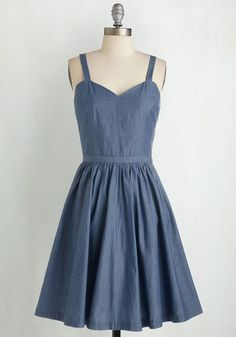 New England Girl in Town Dress - Blue, Solid, Casual, Sundress, Pinup, 50s, 60s, Fit & Flare, Cap Sleeves, Woven, Better, Variation, Vintage Inspired, Cotton, Denim, Mid-length